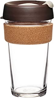 KeepCup 16oz Reusable Coffee Cup. Toughened Glass Cup & Natural Cork Band. 16-Ounce/Large, Almond