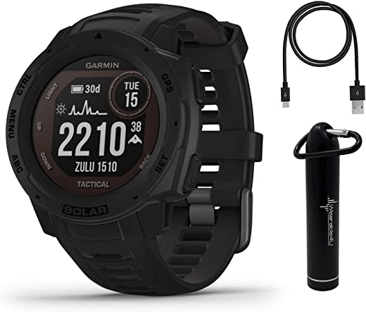 Garmin Instinct Solar Tactical Edition Premium GPS Smartwatch with Pulse Ox, Navigation, Compass with Included Wearable4U Power Bank Bundle (Black)