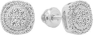 0.30 Carat (ctw) 10K Round White Diamond Ladies Cluster Stud Earrings 1/3 CT, White Gold