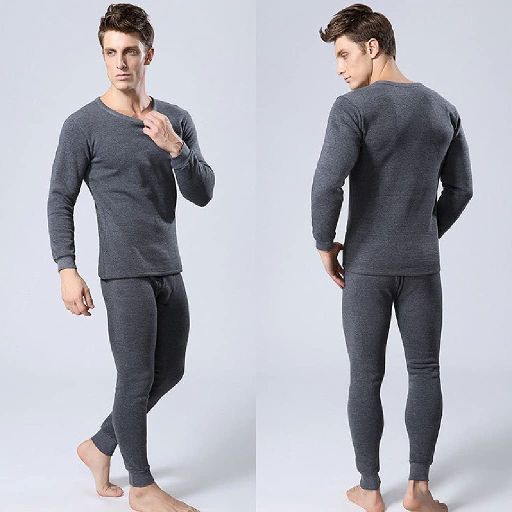 ZSQAW Thermal Underwear Men Long Breathable Soft Indoor Casual Underwear Sets for Male Compression Clothing (Color : C, Size : M Code)