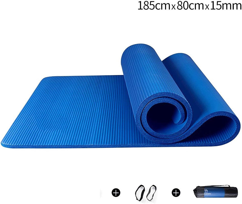 YJYDD Matte Für Yoga, 72 -Zoll-Yogamatte Und Pilates-Matte Für Mnner Und Frauen (Farbe   Blau, gre   15mm)