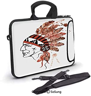 15 inch Laptop Case,Artistic Portrait Native American Tribe Chief with Traditional dress Decorative Neoprene Laptop Shoulder Bag Sleeve Case with Handle and Carrying & External Side Pocket,for Netbook