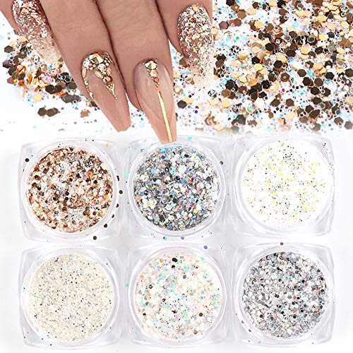 Holographic Nail Art Sequins Glitter Kits 6 Boxes 3D Nails Glitter Metallic Shining Flakes Acrylic Powder Dust Sequins for Nails Decoration Holographic Manicure Tips