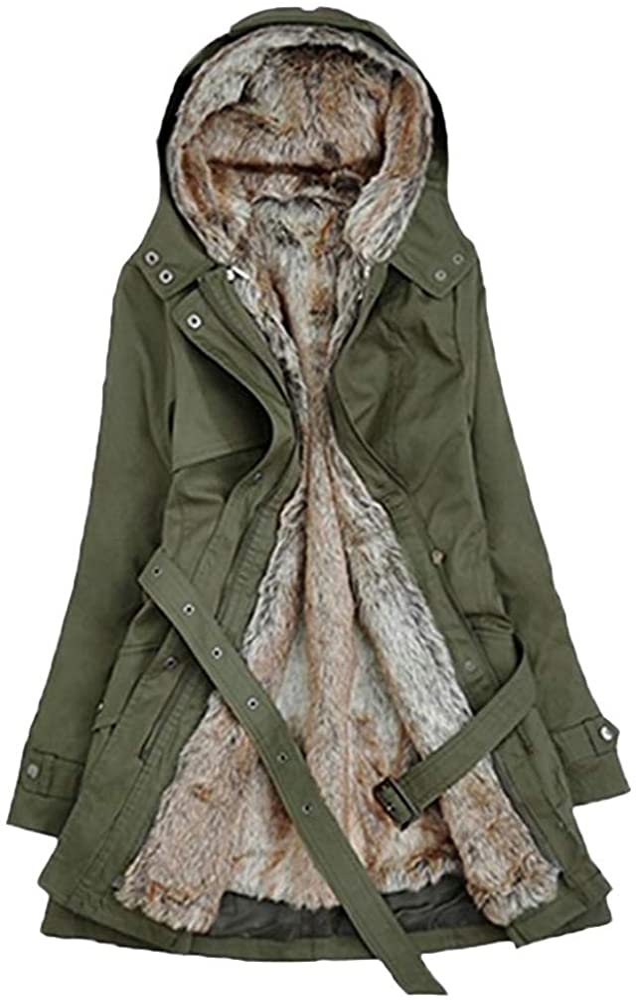 Fastbot women's Hooded Parka Jacket Warm Winter Coat Faux Fur Overcoat Thick Long Outwear Removable Full Fleece Lined Green