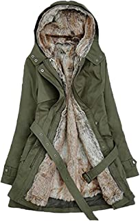 Women's Coat, Solid Faux Fur Lining Long Sleeve Winter Keep Warm Thick Long Casual Hooded Parka Jackets Tops