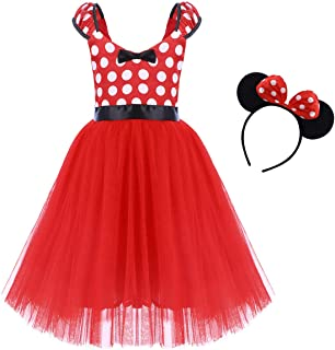 IBTOM CASTLE Girls' Polka Dots Princess Party Cosplay Pageant Fancy Costume Tutu Birthday Dress up+Ears Headband