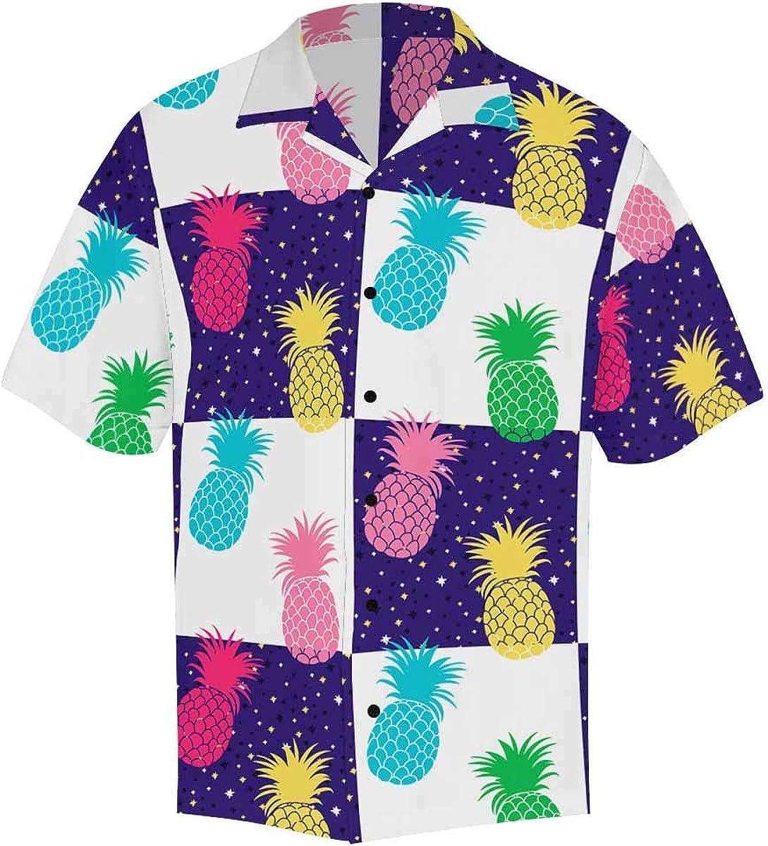 InterestPrint Men's Casual Button Down Short Sleeve Colorful Pineapple Check Hawaiian Shirt (S-5XL)