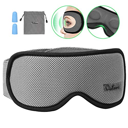 Schlafmaske Damen und Herren, Voluex NULL-Druck 3D konturierte Schlafbrille Nachtmaske,100{3608df45f5573cdebdfcc461f69df7b0b3b5e3aaa6eda52a29671db115edcbce} blockiert Licht, atmungsaktive Memory-Schaum Augenmaske, verstellbares Stirnband, Inklusive Ohrstöpseln