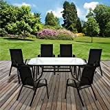 Marko Outdoor Garden Furniture <span class='highlight'>Set</span> <span class='highlight'>Patio</span> Outdoor Rectangular Glass Table 4/6 Chairs Parasol (6 Chairs   Table)