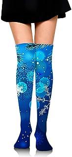 Calcetines de tubo de estampado de copo de nieve de invierno para mujer Medias altas sobre el muslo de la rodilla para niñas 65 cm / 25,6 pulgadas