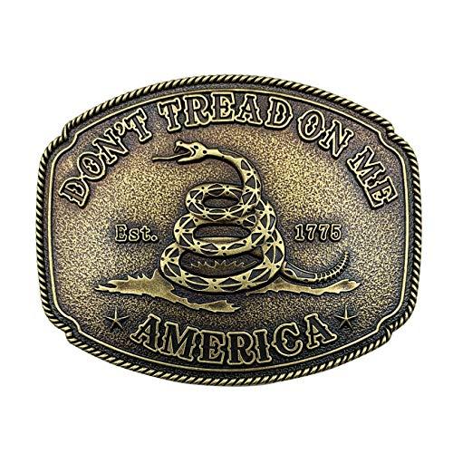 Vintage Snake Celtic Knot Belt Buckle for Men Simple Cowboy American Gadsden Don't Tread on Me Belt Buckle(Gold)