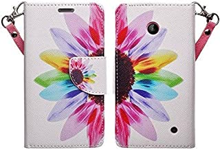Microsoft Nokia Lumia 635 630 Case - Wydan (TM) Hybrid Wallet Case PU Leather Cover Book Flip Style w/Stand - Colorful Sunflower