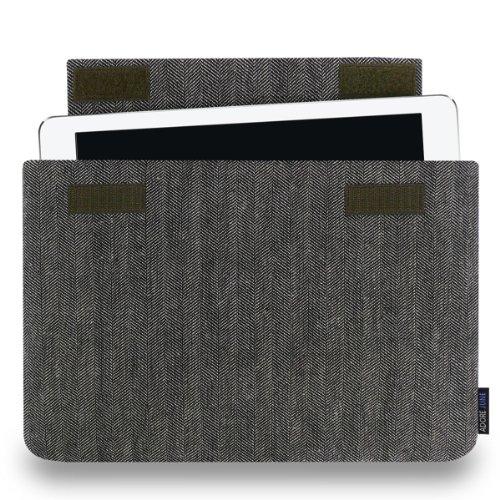 Adore June 9,7 Zoll Business Hülle für Apple iPad 9.7, Apple iPad Pro 9.7 & Apple iPad Air 9 7, Tasche aus Charakteristischem Fischgrat-Stoff, Grau/Schwarz