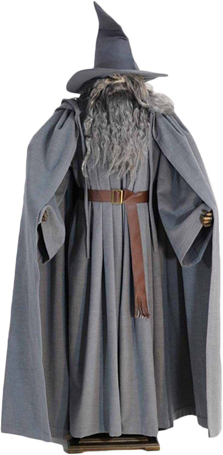 Gandalf Costume Hobbit Cosplay Clothing Grey Robe Cloak Set Halloween Outfit with Hat for Adult Fancy Dress