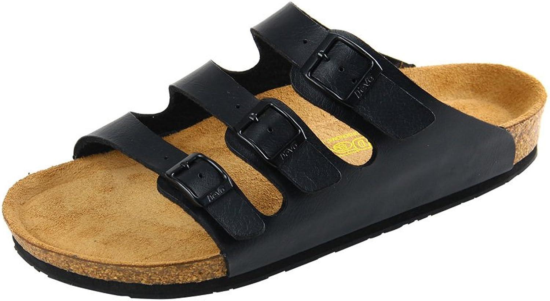 Dilize Men's 3-Strap&Buckle Slip-on Cork Slide Sandals