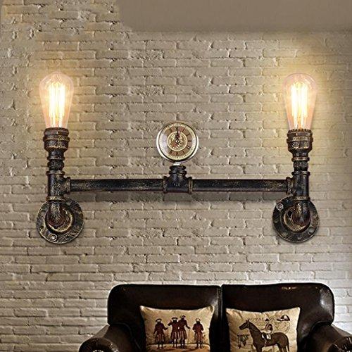 Nordic Rétro Style Industriel Applique Creative Fer Pipe Applique Salon Allée Salon Chambre Bar Loft Décoratif Éclairage, Source de Lumière E27 * 2, Taille 57 * 20 cm