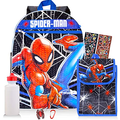 Spiderman Backpack and Lunch Box Set ~ 5-Pc Spider-Man School Supplies Set with Backpack, Lunch Bag, and More (Spiderman Lunch Set)