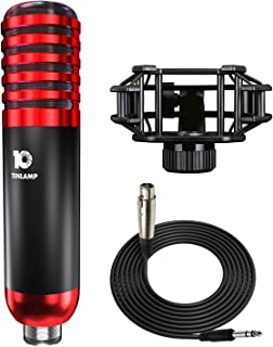 Podcast Microphone, tenlamp Y8 XLR Studio Microphone, Large Diaphragm Condenser Mic with Shock Mount for Recording/Broadca...