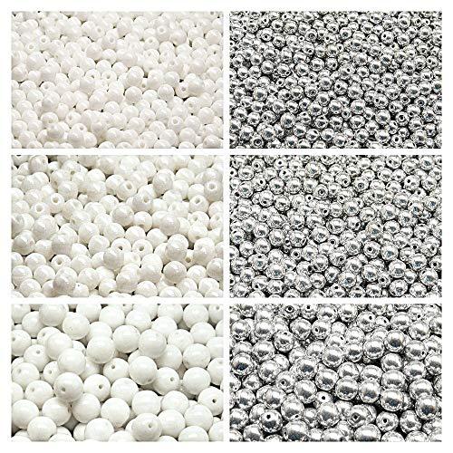 Lot de 500 perles tchèques pressées rondes en verre 3 mm, 4 mm, 6 mm, deux couleurs au total, 2CRP 606 (3RP020 3RP021 4RP018 4RP060 6RP012 6RP037)