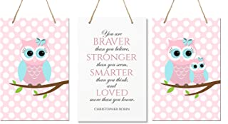 """LifeSong Milestones You are Braver Than You Believe 3 Piece Owl Childrens Wall Decor Signs for Kids, Bedroom, Nursery, Baby's Boys, Girls Room, Size 8"""" x 12"""" Proudly Made in USA (Pink & Blue)"""