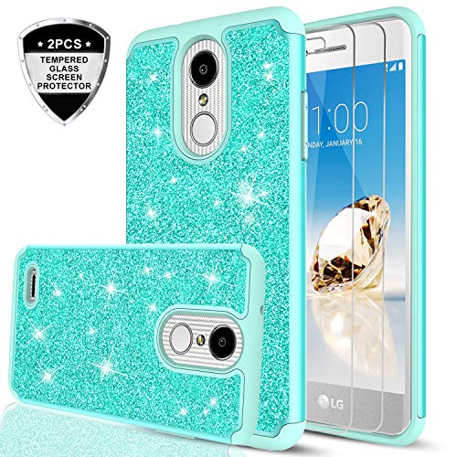 LG Aristo/Risio 2 / Phoenix 3/ Fortune/Rebel 2 LTE/ K8 2017 Case with Tempered Glass Screen Protector [2 Pack] for Girl Women,LeYi Glitter [PC Silicone Leather] Protective Case for LG LV3 TP Mint