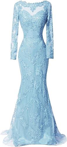 Nanger Damen Lang Elegant Abendkleider mit  rmel Ballkleider Meerjungfrau Glitzer Party Kleider