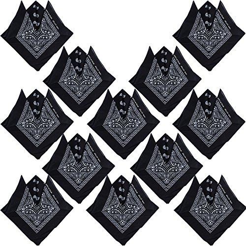 QUMAO (100% Baumwolle) 12 Stk Paisley Bandana Halstuch 55 x 55 cm Kopftuch Armtuch Mischfarben Haar, Hals, Kopf Schal Nickituch Vierecktuch (Schwarz)