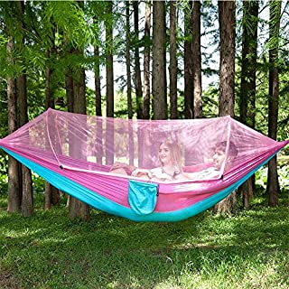 WXJY Mosquito Net Single Net Bag Polyester Swing Hammock Couple Double Romantic Camping Portable 250x120cm Hammock Pink