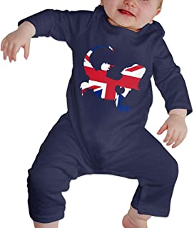 Baby Boy Long Sleeved Coveralls British Flag Bearded Dragon Silhouette Infant Long Sleeve Romper Jumpsuit