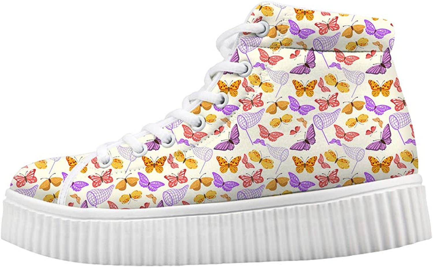 Owaheson Platform Lace up Sneaker Casual Chunky Walking shoes Women Net Pocket colorful Butterflies Capture