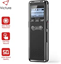 Victure Digital Voice Recorder,8GB 1536Kbps,Auto Voice Activated,Noise Reduction, Recorder with Rechargeable Battery,Digital Audio MP3 Player With Microphone,Suitable for Meeting, Lecture, Interview.