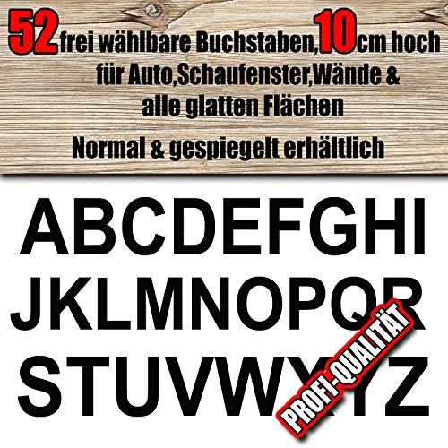 52 wetterfeste Buchstaben Aufkleber 10 cm höhe für innen/aussen, frei zusammenstellbar nach Ihren Wünschen, Große Farb & Schriftartauswahl, für Auto, Schaufenster, Wände & alle glatten Flächen, Blitzschneller Versand, Made in Germany, Wunschtext, Buchstabe, Sticker, Aufkleber, Normal oder gespiegelt lieferbar ,Klebebuchstaben,Ziffern,A-Z, Alphabet