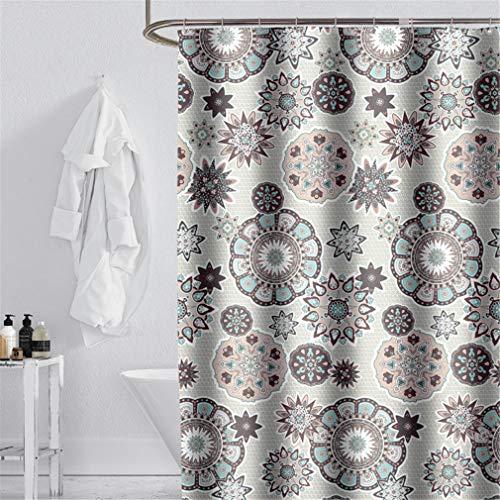 YISHU Cortina de ducha de alta calidad, impermeable, antimoho, incluye 12 anillas, para cuarto de baño, mandala-1, 180 x 200 cm