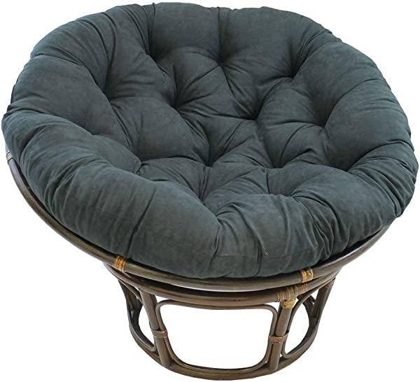 International Caravan 3312 MS BK IC Furniture Piece Rattan 42 Inch Papasan Chair With Micro Suede Cushion