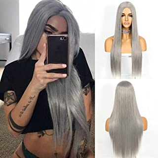 Sapphirewigs Straight Wigs Middle Part Silk Straight Hair Glueless Wigs for Black Women Synthetic Long Heat Resistant Fibe...