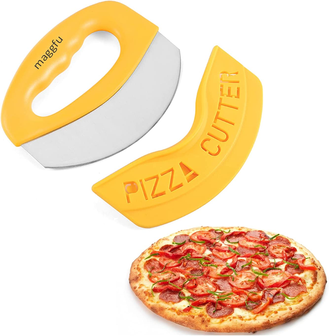 maggfu Premium Pizza High quality new Spring new work Cutter With Cover Stainless Stee Protective