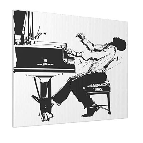 Beabes Jazz Pianist In Black White Wall Art Painting Vintage Man Musician Play Piano Classical Culture Canvas Prints For Home Living Room Bedroom Office No Frame Wall Decor 30x40 CM