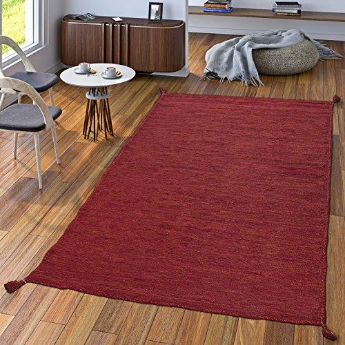 TT Home Handwebteppich Wohnzimmer Natur Webteppich Kelim Modern Baumwolle In Rot, Größe:120x170 cm