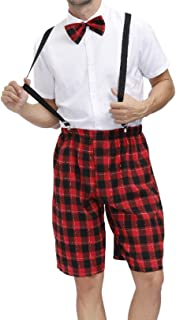 FEESHOW Mens Sissy Halloween School Uniform Costume Cosplay Lingeries Outfit Shirt Suspender Shorts Bow Tie