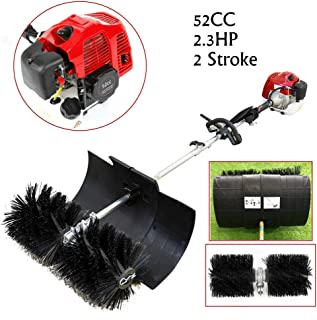 BoTaiDaHong Powerful 52CC Hand Held Cleaning Sweeper Broom Driveway Artificial Grass 2.3 HP Petrol Powered Sweeper Gasoline Engine Power Broom Brush Cleaner 1000ml Tank Volume Nylon Brush Sweeping
