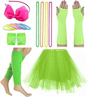 Dancing Stone Child Girl 80's Accessories Set Tutu Skirt with Neon Bracelet Necklace Set