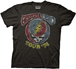 Grateful Dead Adult Unisex Tour 74 Vintage Light Weight 100% Cotton Crew T-Shirt