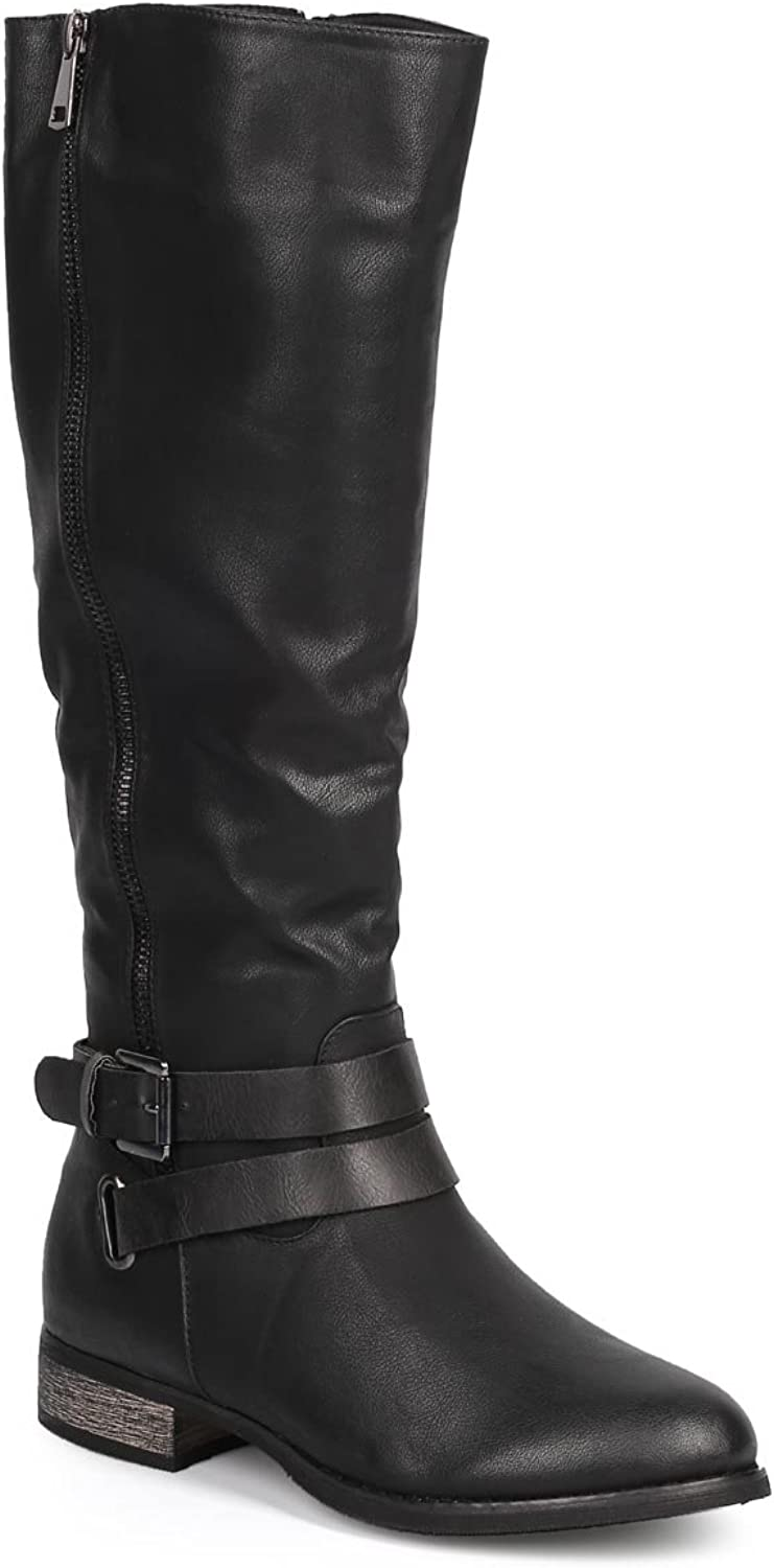 Qupid Women Leatherette Knee High Belted Zip Motorcycle Boot DC08 - Black