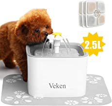 Veken Pet Fountain, 84oz/2.5L Automatic Cat Water Fountain Dog Water Dispenser with 3 Replacement Filters & 1 Silicone Mat for Cats, Dogs, Multiple Pets