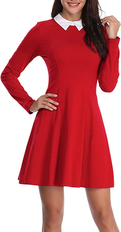 Vintage Style Dresses | Vintage Inspired Dresses FENSACE Womens Peter Pan Collar Long Sleeve Halloween Casual Fit and Flare Dress  AT vintagedancer.com