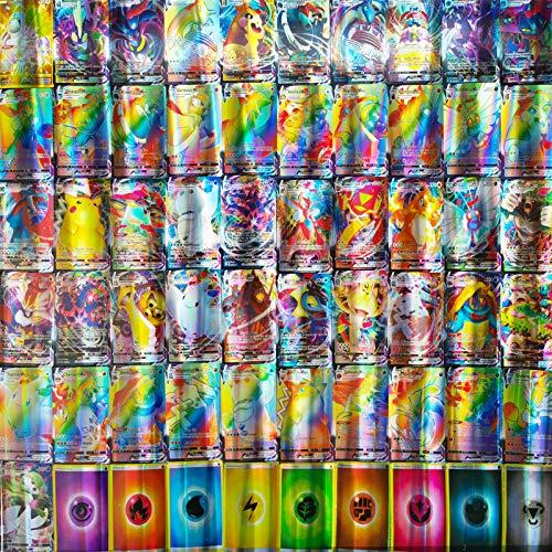 Flyglobal Carte pour Pokémon, Jeux de Cartes 50vmax +9energy+1 oranguru Style Carte Jeu de Cartes Amusant