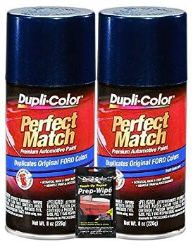 Dupli-Color Twilight Blue Metallic Exact-Match Automotive Paint for Ford Vehicles - 8 oz Bundles with Prep Wipe  3 Items