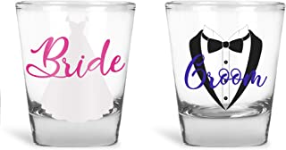 Wedding Shot Glasses - Bride and Groom Shot Glass - Groom Drinking Team Bachelor Party Wedding 2 oz (Bride and Groom)