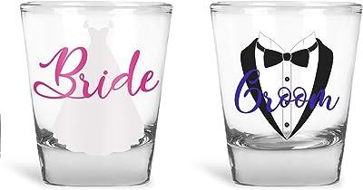 Wedding Shot Glasses - Bride and Groom Shot Glass - Groom Drinking Team Bachelor Party Wedding 2 oz (6 Pack)