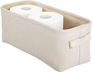 mDesign Stylowy koszyk łazienkowy do przechowywania – Materiałowy schowek z dwoma uchwytami – Organizer łazienkowy na ręcz...